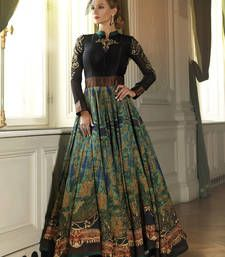 Buy Black bhagalpuri digital print semi stitiched salwar with dupatta party-wear-gown online