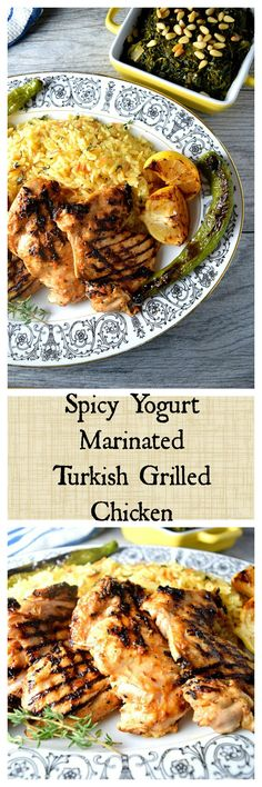Spicy Yogurt Marinated Grilled Chicken. A good grilled chicken starts with the marinade. Try this easy Turkish version with yogurt, fresh chili and loads of garlic as well as Mediterranean spices. Add some home made rice pilaf and you have an easy 30 minute meal!