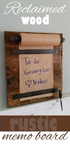 This is a fun way to leave notes for the family, and to write reminders. Great for the farmhouse style of home decor. #rustic #pallets #reclaimedwood #affiliatelink