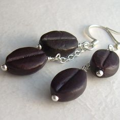 Coffee Bean Earrings Espresso Brown Ceramic Beads by cindylouwho2, $16.00