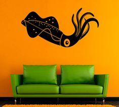 Squid Vinyl Decal Calamari Wall Sticker Nautical Wall Decals Wall Vinyl Decor /6cbn/