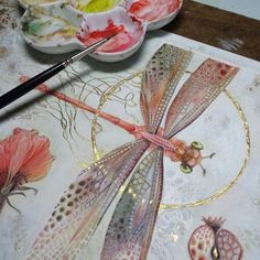 Shadowscapes - Stephanie Pui-Mun Law — Finishing touches and then she is done Painting Inspiration, Art Inspo, Illustration Art, Illustrations, Dragonfly Illustration, Dragonfly Art, Dragonfly Drawing, Dragonfly Painting, Insect Art