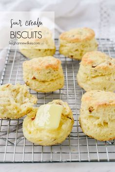 These Sour Cream Biscuits are some of the best biscuits I've ever made. They are soft, tender and flaky with a touch of sweet from the brown sugar and crunch from the pecans. Sour Cream Biscuits, Sour Cream Banana Bread, Frozen Biscuits, Sour Cream Pancakes, Flaky Biscuits, Sour Cream Coffee Cake, Sour Cream Chicken, Sour Cream And Onion, Homemade Sour Cream