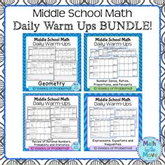 ENTIRE YEAR of daily warm ups for middle school math!  Each day, students solve four problems, reviewing a skill.