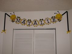Bumble Bee Nursery - final picture 2  Reused one of the decorations from my baby shower over the closet