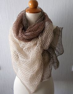 Linen Scarf Knit Lace Shawl Natural Summer Wrap for by LaimaShop