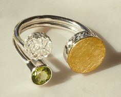 """Floating Dot Ring"" Silver, Gold & Stone Ring Created by Elizabeth Garvin"