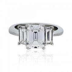 3.45 Carat Emerald Cut Diamond GIA Certified Engagement Ring