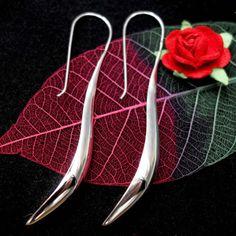 Sterling-Silver-Earrings-Long-Bali-Leaf-Handcrafted-Tribal-Masterwork