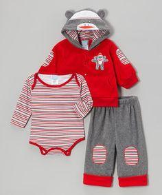 Gray & Red Sock Monkey Hoodie Set - Infant