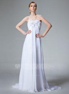 Wedding Dresses - $173.99 - Empire Sweetheart Court Train Chiffon Wedding Dress With Ruffle Beading Flower(s) (002000679) http://jjshouse.com/Empire-Sweetheart-Court-Train-Chiffon-Wedding-Dress-With-Ruffle-Beading-Flower-S-002000679-g679
