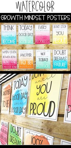 These watercolor growth mindset posters will add a pop of color to your classroom decor and inspire your students! Click to see both styles and all 10 posters. #classroomdecor #growthmindset #middleschoolclassroomdecor #highschoolclassroomdecor #watercolorclassroomdecor