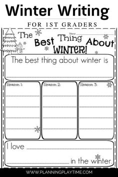 Opinion Writing Prompt for 1st Grade: The best thing about Winter. First Grade Writing Prompts, Opinion Writing Prompts, Work On Writing, Paragraph Writing, Writing Lessons, Teaching Writing, Writing Activities, Christmas Writing Prompts, Opinion Writing Second Grade
