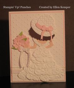 "Back of the Bride punch art. Click on the ""Back to the Bar"" link on the page to see what punches are used to make the top part of the bride then add layers of 1/2 Butterfly punches for the wedding dress.  Emboss the cardstock first, then punch."