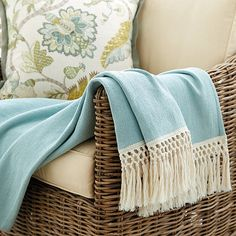 Soft color with a hint of Bohemian charm. Our aqua Summer Tassel Throw is made of soft 100% cotton with just enough weight to take the chill off a cool summer evening.