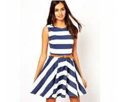 Vestido Club L Navy Striped