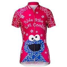 Brainstorm Gear Womens Cookie Monster Pink Cycling Jersey  SSCCW Hot Pink Large *** Continue to the product at the image link.