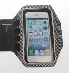 iPhone 5 Sports Armband – Black Neoprene Sweatproof Holder for Your Apple Phone – For all Running Girls and Guys, Men and Women – Cute Unique Band Design – Cool Waterproof Case – AT&T Verizon Sprint – Protect Your Investment – Best Lifetime Guarantee