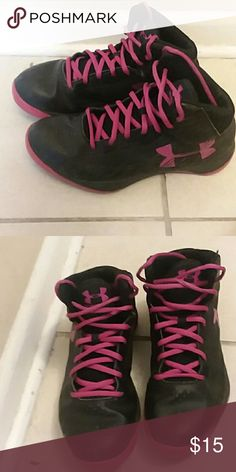 Basket Ball Shoes Pink and Black, Used Under Armour Shoes Athletic Shoes