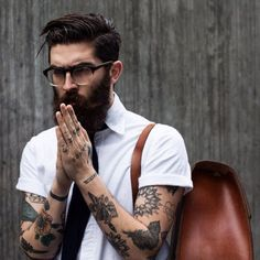 Beard N Tattoos // Hipster style Hipsters, Sexy Tattoos, Tattoos For Guys, Undercut Tattoos, Tattooed Guys, Tatoos, Bart Tattoo, Hipster Fashion, Mens Fashion