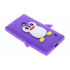 Paars pinguin siliconen hoesje voor de Nokia Lumia 520 / 525
