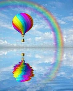 Hot Air Balloons and rainbows go together like.me and sausage dogs ! Love Rainbow, Over The Rainbow, Rainbow Colors, Air Ballon, Hot Air Balloon, Balloon Rides, Jolie Photo, Beautiful Pictures, Painting