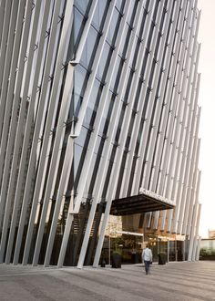 Angled louvres shade glass skyscraper in Guadalajara by Sordo Madelano Arquitectos