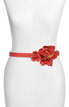 Red Leather Flower Belt
