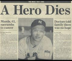 Image result for baseball's mickey mantle dies