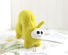 Handmade Plush Inchworm Stuffed Animal in Chartreuse Yellow Green