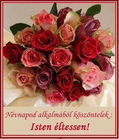 NÉVNAP Birthday Wishes, Happy Birthday, Name Day, Topiary, Cut Flowers, Flower Arrangements, Diy And Crafts, Rose, Pretty