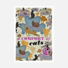 Comfort Of Cats Print, 109€, now featured on Fab.