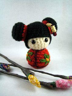 JiJi, an amigurumi kokeshi doll. $15.00, via Etsy.
