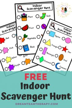 Free indoor scavenger hunt for kids! Have fun finding different items, colors, or shapes. Great for increasing vocabulary and visual attention. Perfect for children of all ages! Book Scavenger Hunt, Preschool Scavenger Hunt, Preschool Songs, Games For Kids, Activities For Kids, Family Games, Free Kids Books, Increase Vocabulary, Basic Sight Words