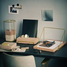 Milanese firm Ilaria Inocenti presents Adobe, a collection of desk tools made of a mixture of clay, silt, sand and plant fibers. The pieces include a document tray, a tablet stand, a pencil holder, a paper holder, and a storage tray