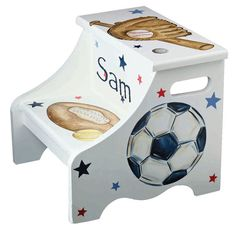 Sports step stool - all star theme- personalized gift for baseball- football soccer, basketball fan - unique baby boy - nursery decor