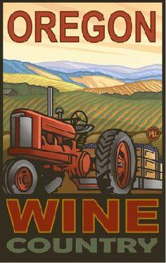 Paul A Lanquist Oregon Wine Country Poster Oregon Wine Country, Country Roads, Wine Poster, Ecole Art, Vintage Travel Posters, Retro Posters, Poster Prints, Art Prints, Bunt