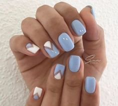 SUMMER NAILS 2017 Blue and white nails Fresh nails Geometric nails Spring summer nails 2017 Stylish nails Triangle french manicure Triangle nails Two color nails Stylish Nails, Trendy Nails, Two Color Nails, Blue And White Nails, Sky Blue Nails, Periwinkle Nails, Blue Chevron Nails, Pastel Blue Nails, Nautical Nails