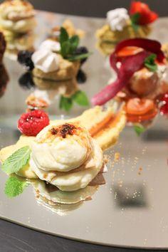 millefoglie all'extravergine con mousse di patata di Poliranno su gelatina di mele cotogne e mandorle pralinate