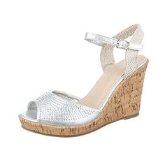 Keilsandaletten Damen Schuhe Plateau Keilabsatz  Wedge Keilabsatz Schnalle  Ital-Design Sandalen   Sandaletten Silber 693b8be23e