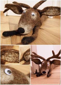 Felted Deer draft stopper
