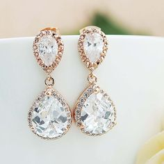 LUX ROSE GOLD CLEAR WHITE CRYSTAL TEAR DROP WEDDING EARRINGS