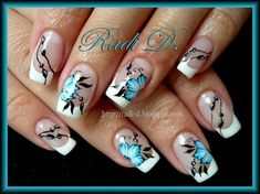 Waterdecals + hand- painted work by RadiD - Nail Art Gallery Gorgeous Nails, Pretty Nails, Country Nails, Asian Nails, French Tip Nails, Nail Art Galleries, Flower Nails, Creative Nails, Cool Nail Designs