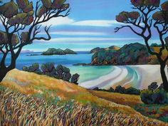 Helena Blair - artist from New Zealand New Zealand Art, Nz Art, Art Diary, Kiwiana, Abstract Styles, Painted Rocks, Landscape Paintings, Folk Art, Design Art