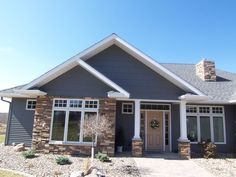 Exterior, Great Blue Siding House Combined With Brick Design Also Small Brick Chimney And Medium Sideway: Fantastic 15 Inspirational Of Sidi. Exterior Gris, Design Exterior, Brick Design, Exterior House Colors, Exterior Paint, Blue Siding, Siding Colors, White Siding, Black Shutters
