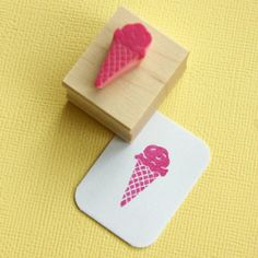 Delicious Ice Cream Hand Carved Rubber Stamp by Skull and Cross Buns