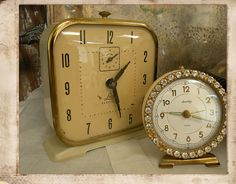 Have the small rhinestone clock in pink......I adore it......bought it years ago at an antique store for a song....
