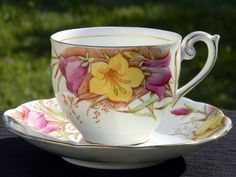 Vintage Bell Floral Tea Cup and Saucer, Fine Bone China Teacup Made in Englan