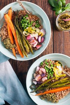 Roasted Spring Vegetable Grain Bowls with Pistachio Pesto - ready in just 20 minutes!