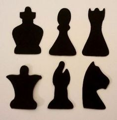 6 Sets of 6 Chess Pieces 36 Cuts Silhouette Die Cuts Quality Black Card | eBay
